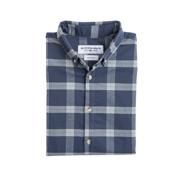 Mizzen + Main Fairview Blue & Gray Plaid Slim Fit Flannel Shirt