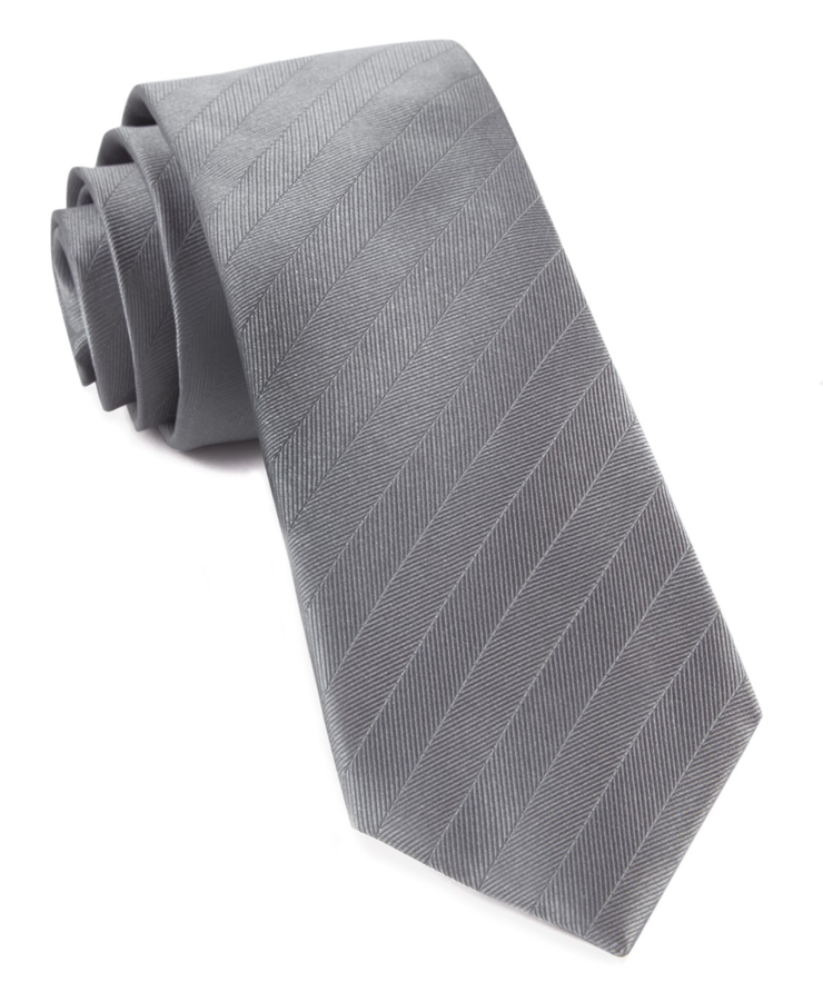 Gray Herringbone Vow Tie