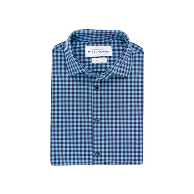 Mizzen + Main Whitten Blue Gingham Shirt