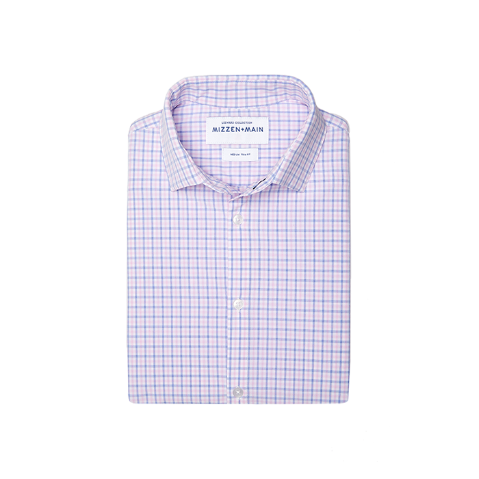Mizzen + Main Seaside Blue Pink Tattersall Shirt