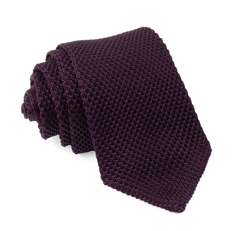 Eggplant Pointed Tip Knit Tie