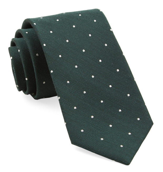 Hunter Green Dotted Report Tie