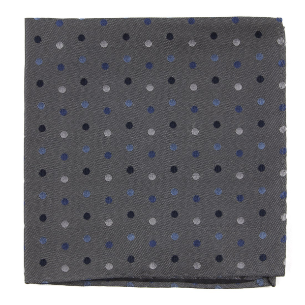 Gray Spree Dots Pocket Square
