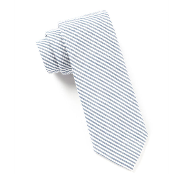 Seersucker Slim Tie Midnight Navy