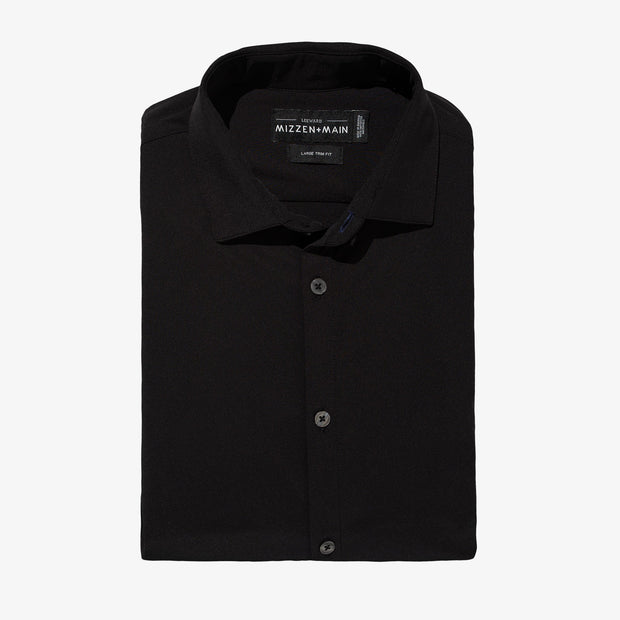 Mizzen + Main Dean Solid Black Shirt