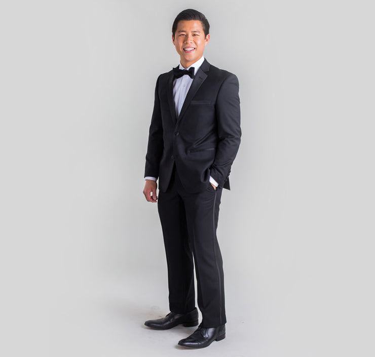 Pursuit Black Slim Fit Tuxedo Pants