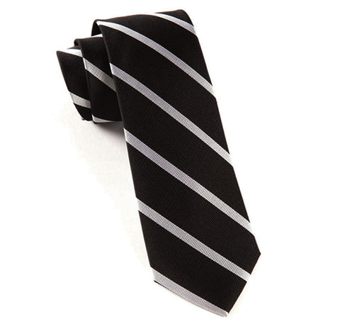 Trad Stripe Black Slim Black Tie