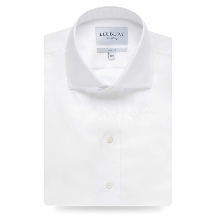 Ledbury White Slim Fine Twill Spread Collar Dress Shirt