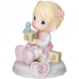 Growing In Grace, Age 2 Blonde Girl Figurine