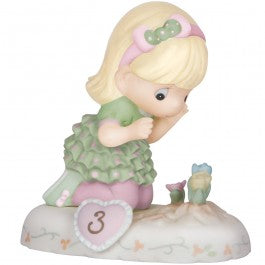 Growing In Grace, Age 3 Blonde Girl Figurine