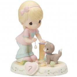 Growing In Grace, Age 7 Blonde Girl Figurine
