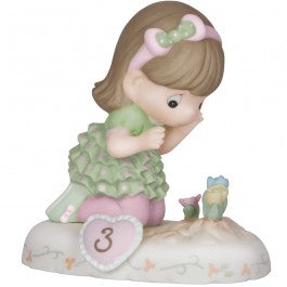 Growing In Grace, Age 3 Brunette Girl Figurine