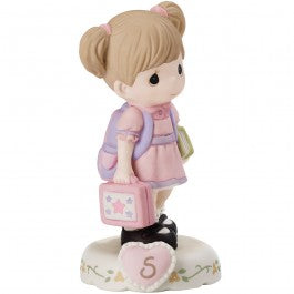 Growing In Grace, Age 5 Brunette Girl Figurine