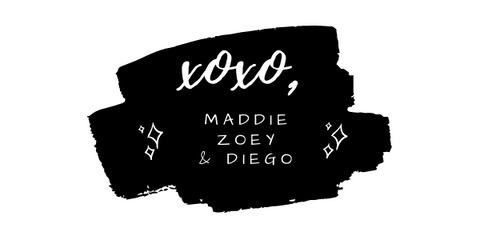 """Multiple black brush strokes with the words """"xoxo, Maddie Zoey & Diego"""" in white text. There are accompanying sparkles on both sides of the text."""
