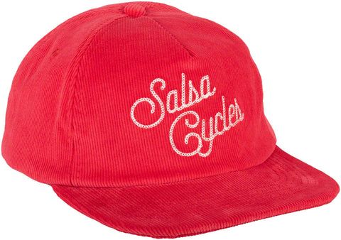 NEW Salsa Rebel Corduroy Snapback Cap - Red, One Size