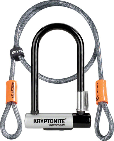 NEW Kryptonite KryptoLok Mini-7 U-Lock with 4' Flex Cable and Bracket