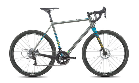 NEW 2020 Niner RLT 9 Steel Gravel Bike, 3-STAR SRAM RIVAL 22, 650b, Forge Grey/Baja Blue