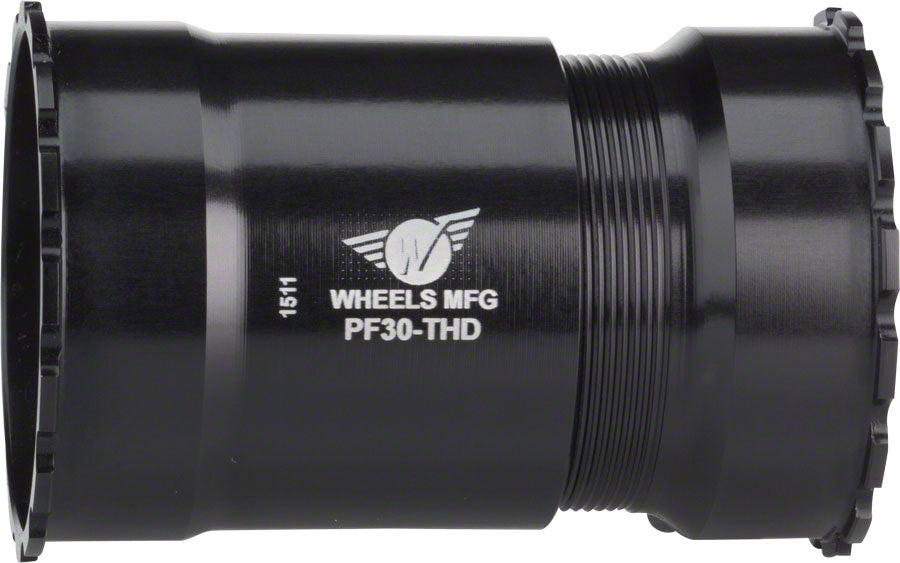 NEW Wheels Manufacturing PressFit 30 Bottom Bracket with Angular Contact Bearings: Threaded, Black