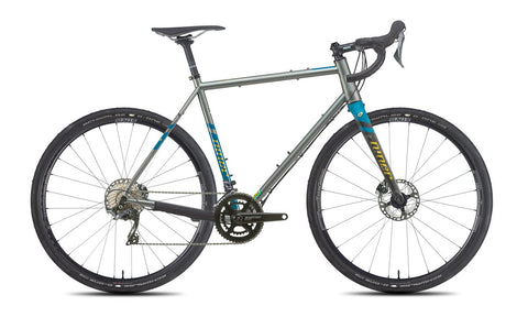 NEW 2020 Niner RLT 9 Steel Gravel Bike, 5-STAR SHIMANO GRX 800 2X, 700c, Forge Grey/Baja Blue