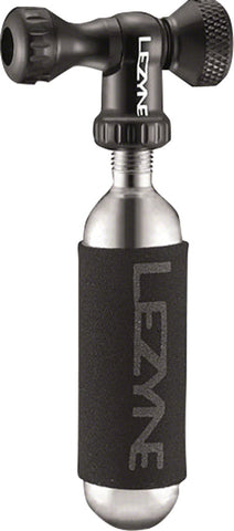 NEW Lezyne Control Drive C0-2 Inflator, Slip-fit Schrader/Presta, includes 16g cartridge with Neoprene Sleeve: Black