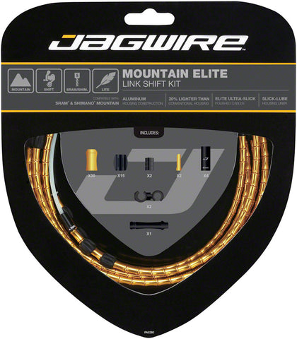NEW Jagwire Mountain Elite Link Shift Cable Kit SRAM/Shimano with Ultra-Slick Uncoated Cables, Gold
