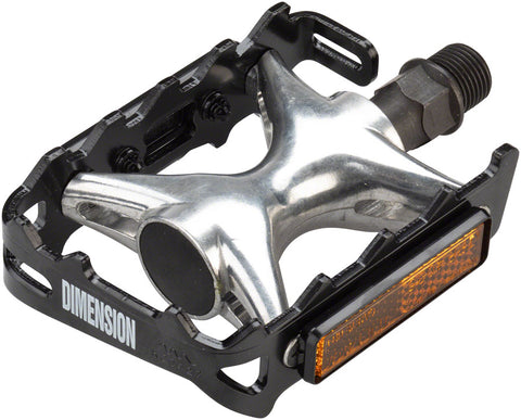"NEW Dimension Mountain Compe Pedals - Platform, Aluminum, 9/16"", Black/Silver"