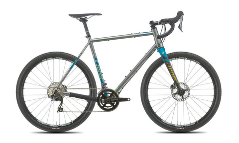 NEW 2020 Niner RLT 9 Steel Gravel Bike, 4-STAR SHIMANO GRX 800 2X, 650b, Forge Grey/Baja Blue