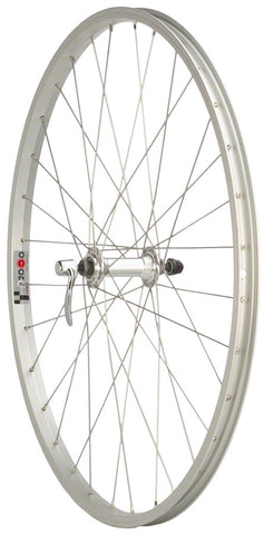 "NEW Quality Wheels Value Single Wall Series Front Wheel - 26"", QR x 100mm, Rim Brake, Silver, Clincher"