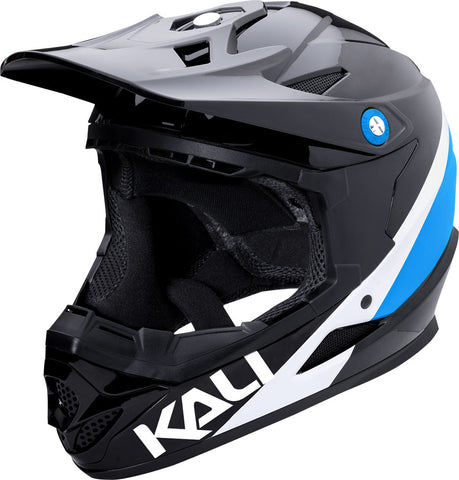 NEW Kali Protectives Zoka Helmet: Pinner Gloss Black/Blue/White XL