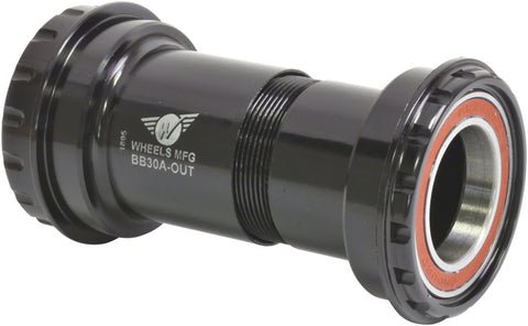 NEW Wheels Manufacturing BB30A Outboard Bottom Bracket for 24mm cranks (Shimano) with Angular Contact Bearings, Black