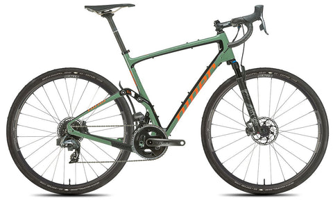 NEW 2020 Niner MCR 9 RDO Full Suspension Gravel Bike, 5-STAR SRAM FORCE AXS LTD, Olive Green/Orange