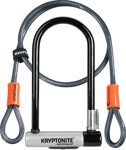 "NEW Kryptonite KryptoLok U-Lock - 4 x 9"", Keyed, Black, Includes 4' cable and bracket"