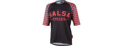Salsa Devour Men's Short-Sleeve Jersey: Black/Salmon XL