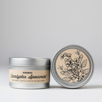 Eucalyptus Spearmint Travel Tin Candle