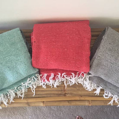 Solid Handwoven Throw- Mint