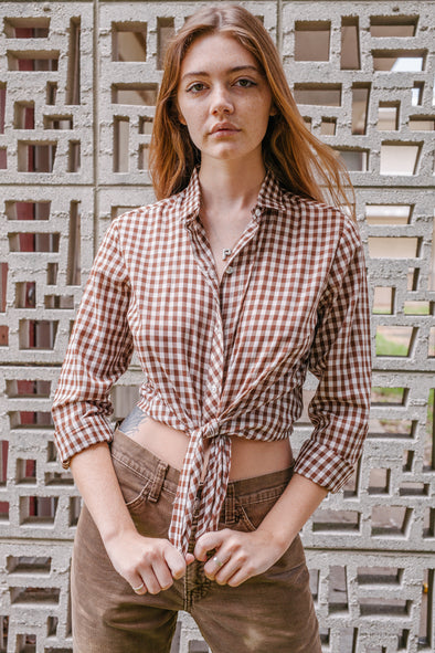 Vintage Try 1 Gingham Blouse- Brown