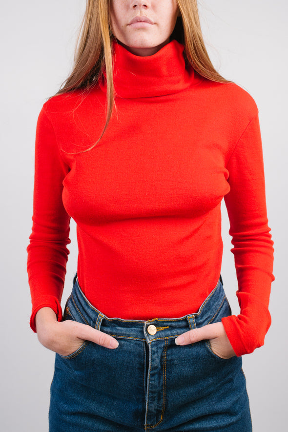 Vintage 70's Extra Long Fitted Turtleneck Sweater- Red