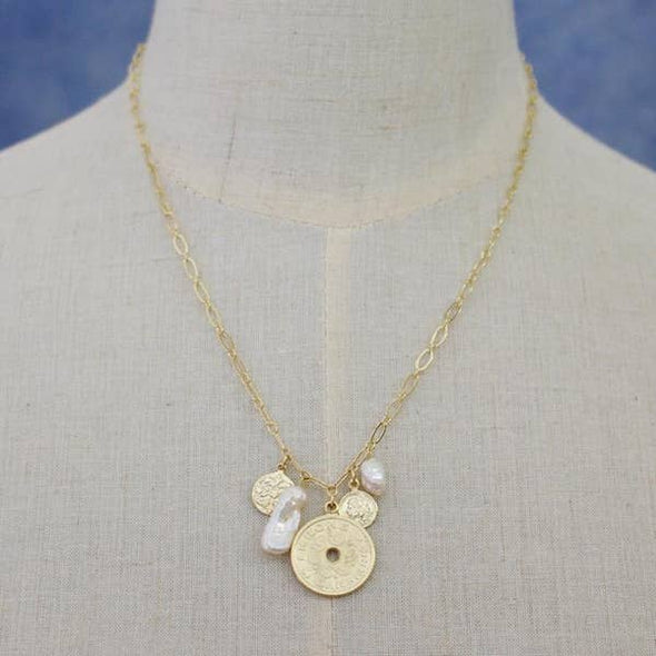 Dainty Charm Pendant Necklace- White/Gold