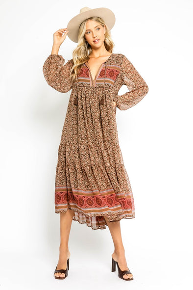 Stevie Midi Dress- Brown Mix