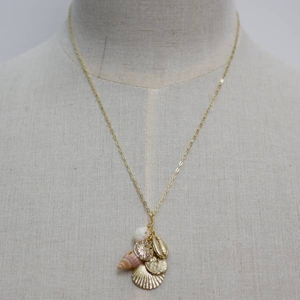 Shell Cluster Pendant Necklace- Gold/Peach