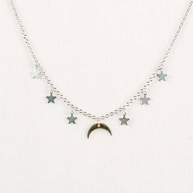 Moon & Star Necklace- Silver