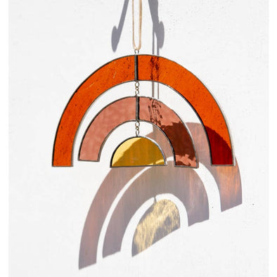 Movement Sun Catcher Stained Glass- Amber