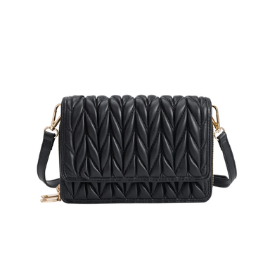 Giselle Quilted Crossbody Bag- Black