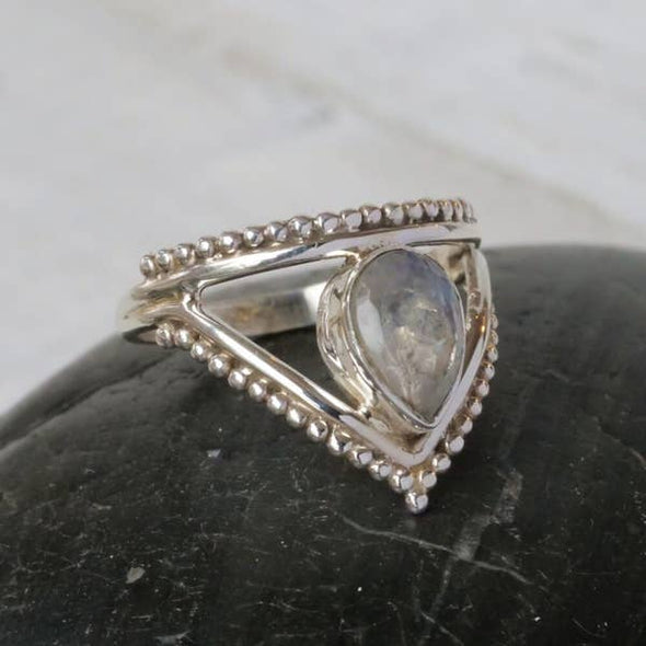 Sterling & Moonstone Chevron Ring