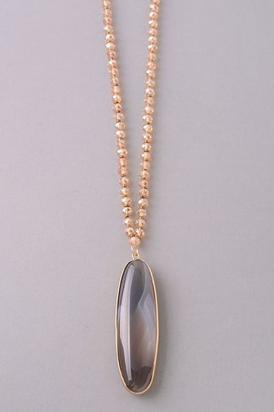 Stone & Bead Necklace- Grey