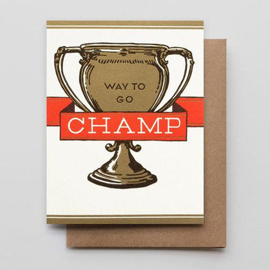 Way To Go Champ Letterpress Greeting Card
