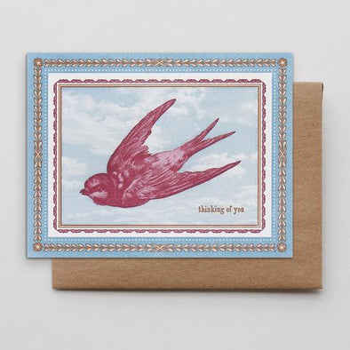 Thinking of You Bird Letterpress Card