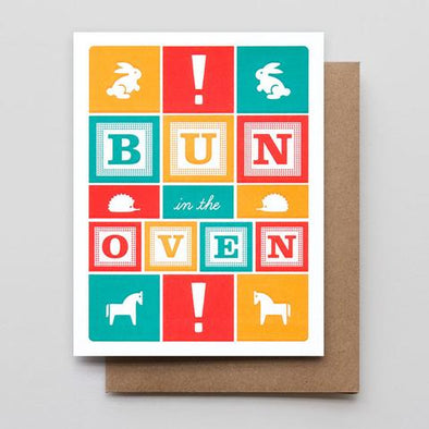 Bun in the Oven Letterpress Greeting Card