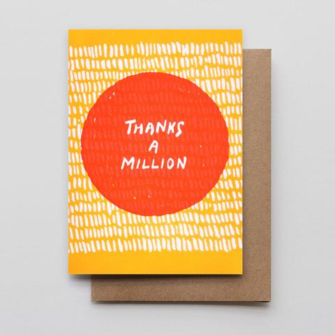 Thanks A Million Letterpress Greeting Card
