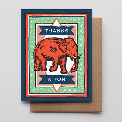 Thanks A Ton Letterpress Greeting Card